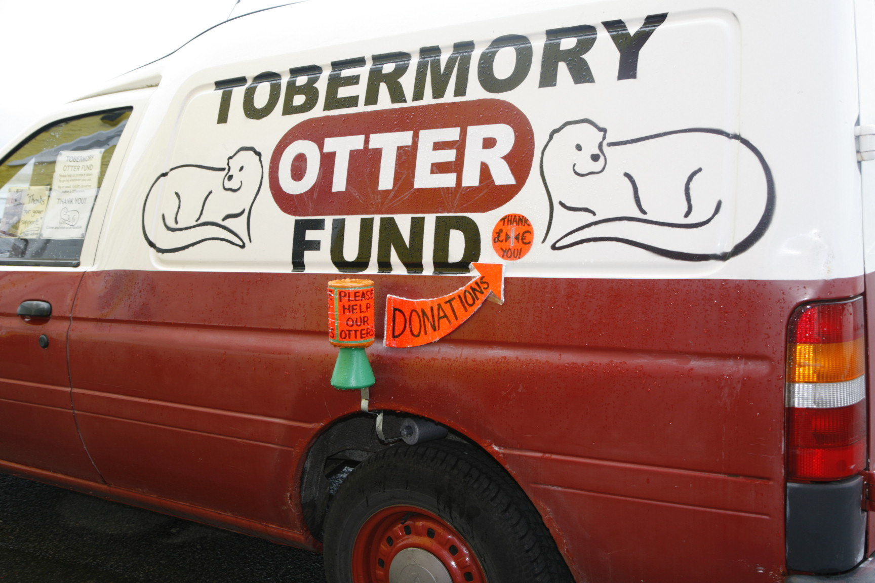 New coin slots cut into both sides of the TOF van allow donations to be taken 24/7.