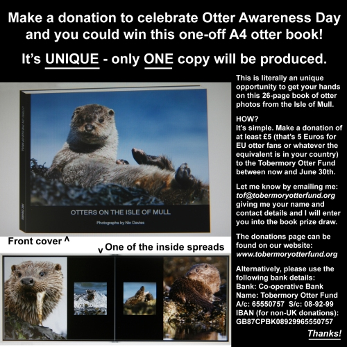 Support out otters and you could win this unique otter photobook.  Please make your qualifying donation by June 30th.